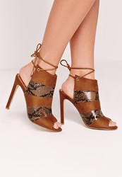 Missguided Peep Toe Lace Back Ankle Heels Tan