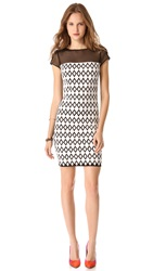 Catherine Malandrino Cutout Dress With Mesh Trim Noir Blanc