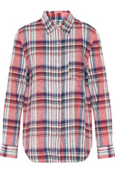 Etoile Isabel Marant Tom Checked Linen And Cotton Blend Shirt Red