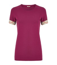 Burberry Check Cuff Stretch Cotton T Shirt Female Dark Pink