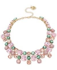 Betsey Johnson Gold Tone Pink And Green Crystal Cluster Choker Necklace Multi