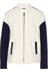 Vince Color Block Cotton Twill Bomber Jacket White