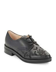 French Connection Maci Embroidered Leather Oxfords Black