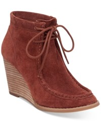 Lucky Brand Women's Ysabel Lace Up Wedge Booties Women's Shoes Russet