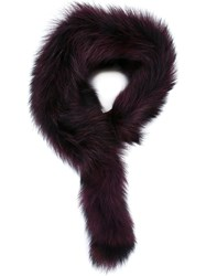 P.A.R.O.S.H. Raccoon Fur Stole Red