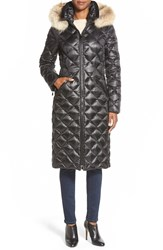 Dawn Levy 'Kali' Long Quilted Down Coat With Genuine Coyote Fur Trim Black