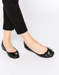 Faith Austin Leather Square Toe Ballet Flats Black