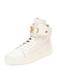 Salvatore Ferragamo Night High Top Sneaker With Ankle Strap White
