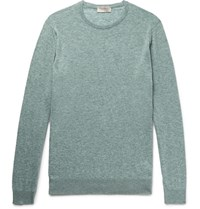 John Smedley Medley Theon Melange Cotton And Cahmere Blend Weater Light Green