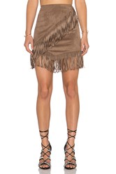 1. State Fringe Wrap Faux Suede Mini Skirt Brown