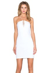 Donna Mizani Halter Lace Up Mini Dress White