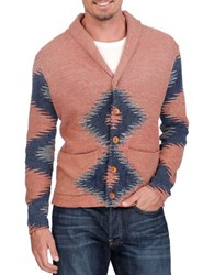 Lucky Brand Novelty Intarsia Knit Cardigan Rust