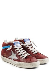 Golden Goose Suede Mid Star Sneakers Red