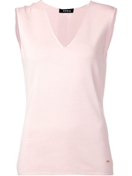 Akris V Neck Sleeveless Top Pink And Purple