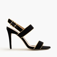J.Crew Piped Velvet Double Strap Sandals