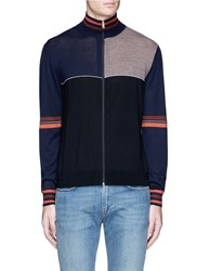 Paul Smith Colourblock Wool Silk Turtleneck Cardigan Multi Colour
