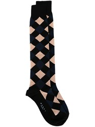 Marni Diamond Pattern Long Socks Black