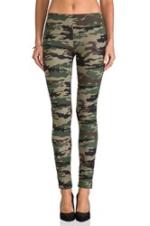 Plush Camo Print Legging Green