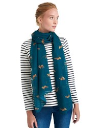 Joules Wensley Parsley Fox Print Scarf Teal Orange