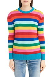 Saint Laurent Women's Rainbow Stripe Wool Sweater