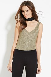 Forever 21 Contemporary Metallic Loose Knit Tank Gold