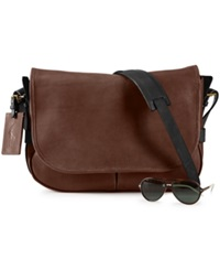 Polo Ralph Lauren Two Toned Leather Messenger Bag Mahogany
