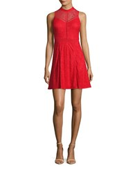 Guess Mockneck Sleeveless Lace Dress Red