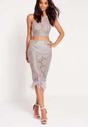 Missguided All Over Lace Feather Hem Skirt Grey Grey