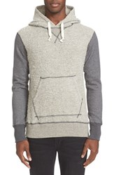 Junya Watanabe Men's Contrast Sleeve Wool And Alpaca Blend Knit Hoodie With Elbow Patches