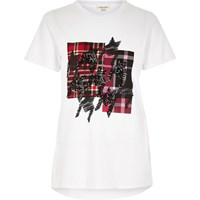 River Island Womens White Check Sequin T Shirt