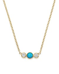 Zoe Chicco 14K Yellow Gold Bar Necklace With Bezel Set Turquoise And Diamonds
