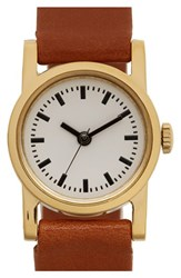 Steven Alan Women's Round Leather Strap Watch 20Mm Brown White