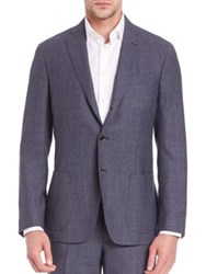 Saks Fifth Avenue Micro Checked Wool Jacket Blue