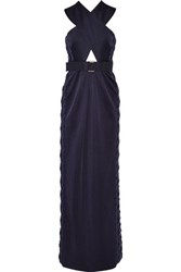 Marc Jacobs Embellished Cutout Stretch Satin Jersey Gown Indigo