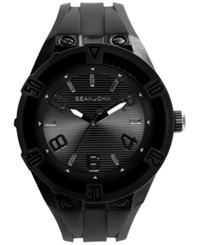 Sean John Men's Black Silicone Strap Watch 56X50mm 10021795