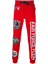 Philipp Plein 'Cat Eyes' Track Pants Red