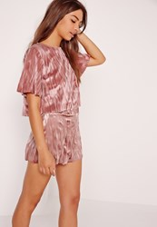 Missguided Pleated Velvet Crop Top Pink Pink