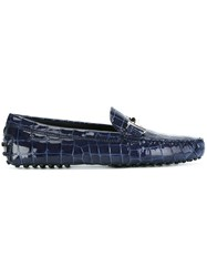 Tod's Crocodile Effect Loafers Blue