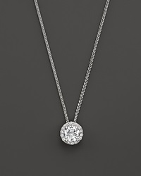 Bloomingdale's Diamond Halo Pendant Necklace In 14K White Gold .20 Ct. T.W.