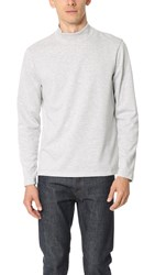 Club Monaco Ponte Mock Neck Long Sleeve Tee Light Heather Grey