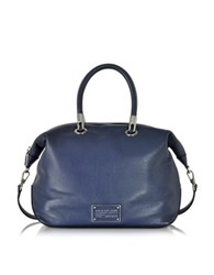 Marc By Marc Jacobs New Too Hot Handle Amalfi Coast Leather Top Zip Satchel Navy Blue