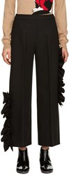 Msgm Black Wide Leg Ruffle Trousers