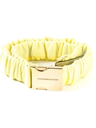 Alexandre Vauthier Ruched Safety Buckle Belt Yellow And Orange