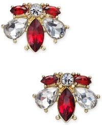 Charter Club 14K Gold Plated Red And Clear Crystal Stud Earrings Only At Macy's