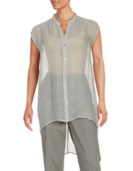 Eileen Fisher Open Knit Tunic Silver
