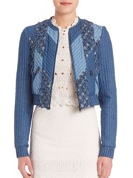 Rebecca Taylor Patchwork Chambray Cotton Jacket
