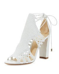 Alexandre Birman Doria Woven Leather Block Heel Sandal White
