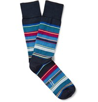Paul Smith Striped Stretch Cotton Blend Socks Blue