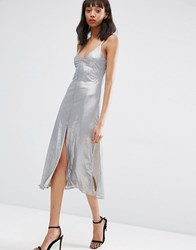 Asos Night Embellished Metal Sequin Cami Midi Dress Grey