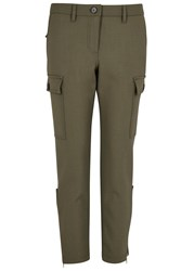 Alexander Mcqueen Olive Cropped Stretch Wool Trousers Khaki